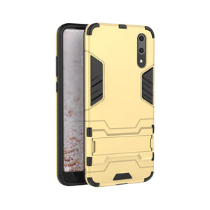 Heavy Duty Shockproof Hybrid Combo Rugged Phone Case Hard Phone Shell Cover With Kickstand Holder For Huawei P20 - Yellow