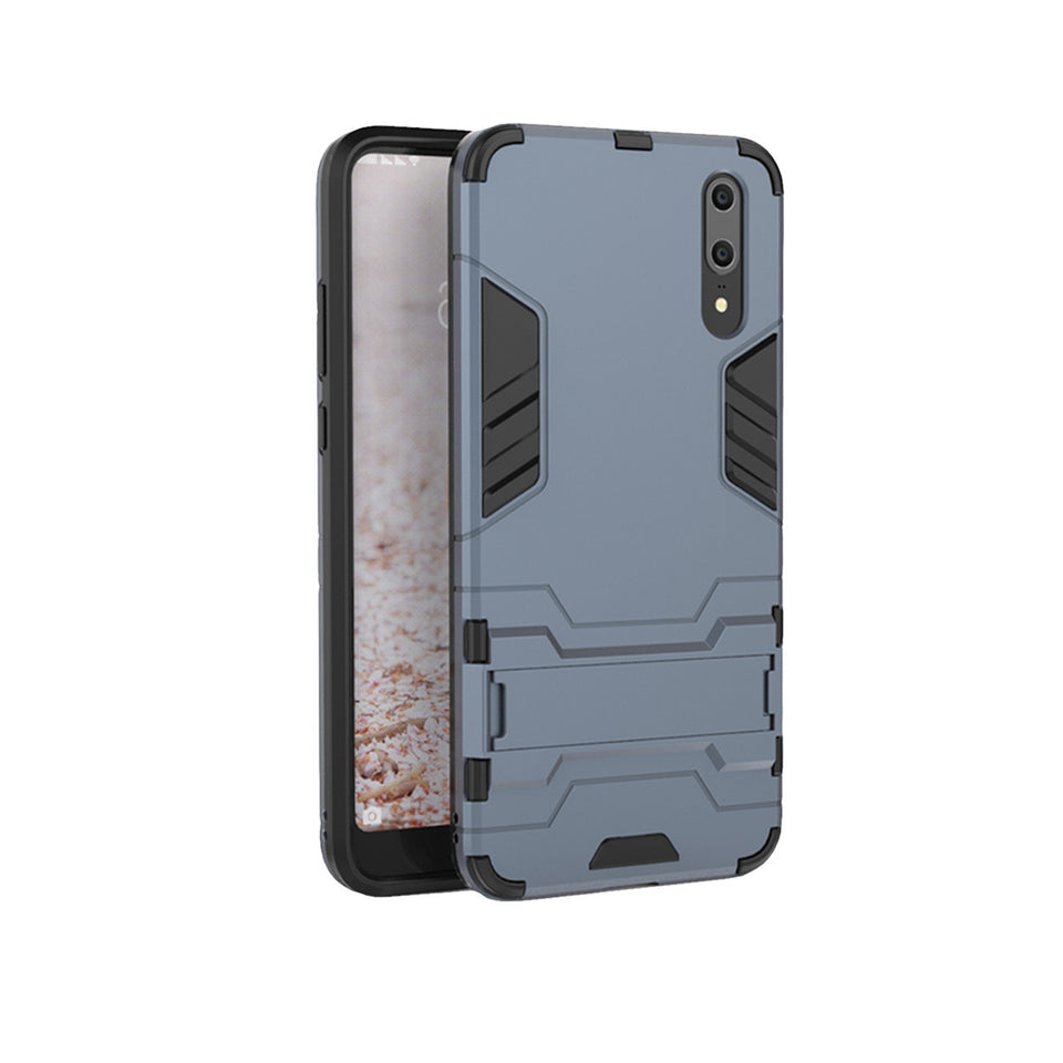 Heavy Duty Shockproof Hybrid Combo Rugged Phone Case Hard Phone Shell Cover With Kickstand Holder For Huawei P20 - Navy