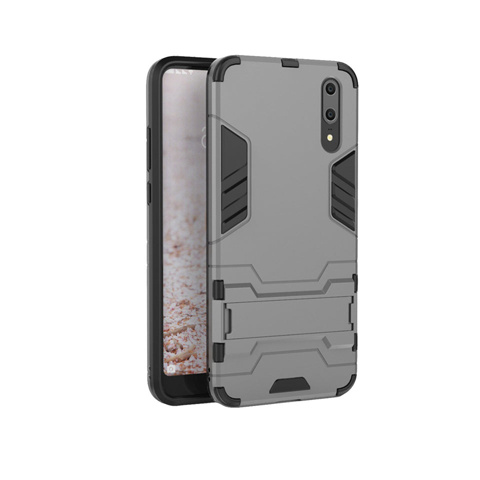 Heavy Duty Shockproof Hybrid Combo Rugged Phone Case Hard Phone Shell Cover With Kickstand Holder For Huawei P20 - Grey