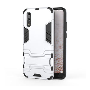 Heavy Duty Shockproof Hybrid Combo Rugged Phone Case Hard Phone Shell Cover With Kickstand Holder For Huawei P20 - White