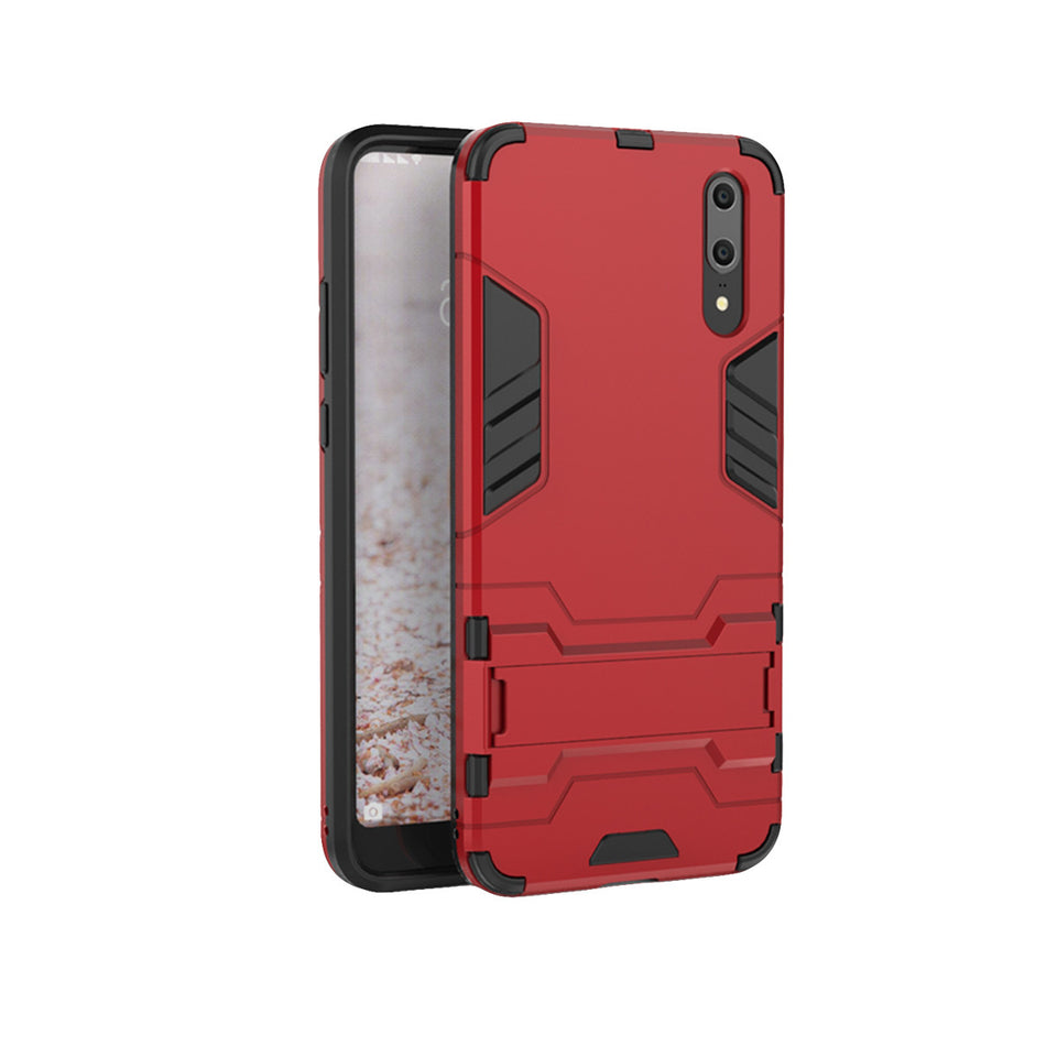 Heavy Duty Shockproof Hybrid Combo Rugged Phone Case Hard Phone Shell Cover With Kickstand Holder For Huawei P20 - Red