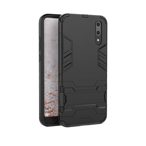 Heavy Duty Shockproof Hybrid Combo Rugged Phone Case Hard Phone Shell Cover With Kickstand Holder For Huawei P20 - Black