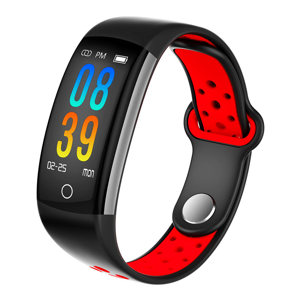 Q6 Smart Band Watch Waterproof Sports Fitness Bracelet Men Women Blood Pressure Wristband Activity Tracker Smartband - Red