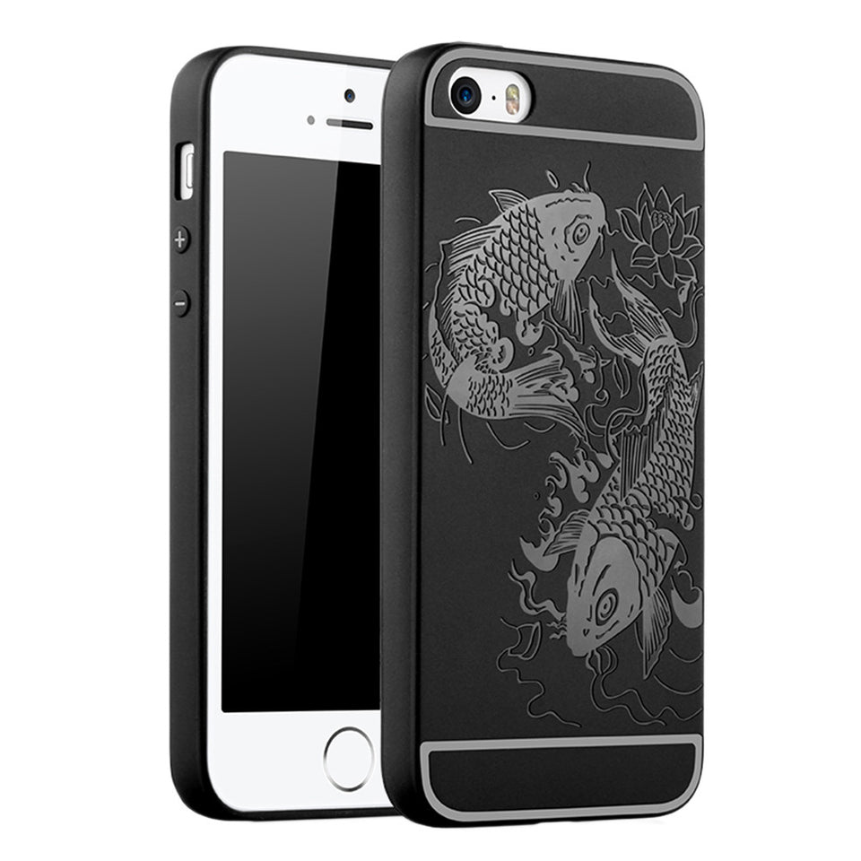 Fish Print Phone Case Slim Fit Soft Tpu Case Shockproof Anti-Scratch Phone Cover Case For Iphone - Black / Iphone 5/5S