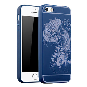 Fish Print Phone Case Slim Fit Soft Tpu Case Shockproof Anti-Scratch Phone Cover Case For Iphone - Blue / Iphone 5/5S