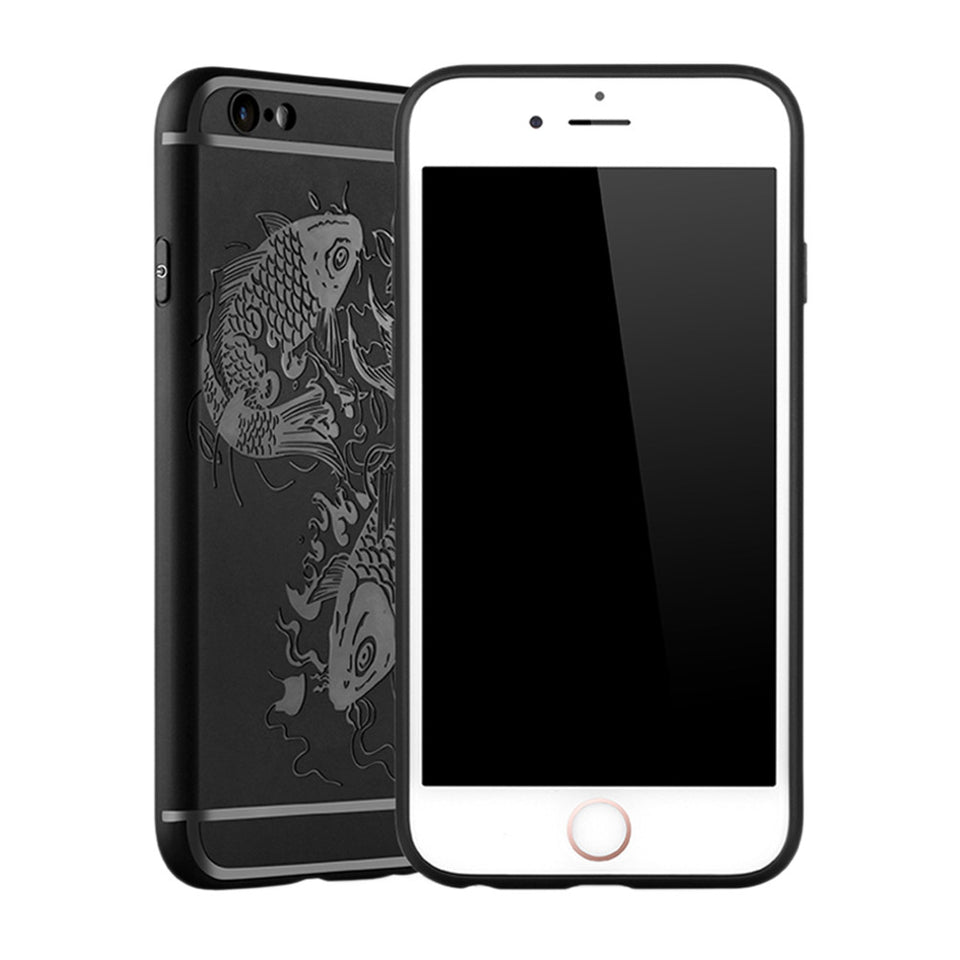 Fish Print Phone Case Slim Fit Soft Tpu Case Shockproof Anti-Scratch Phone Cover Case For Iphone - Black / Iphone 6/6S