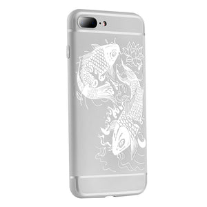 Fish Print Phone Case Slim Fit Soft Tpu Case Shockproof Anti-Scratch Phone Cover Case For Iphone - Grey / Iphone 7/8Plus