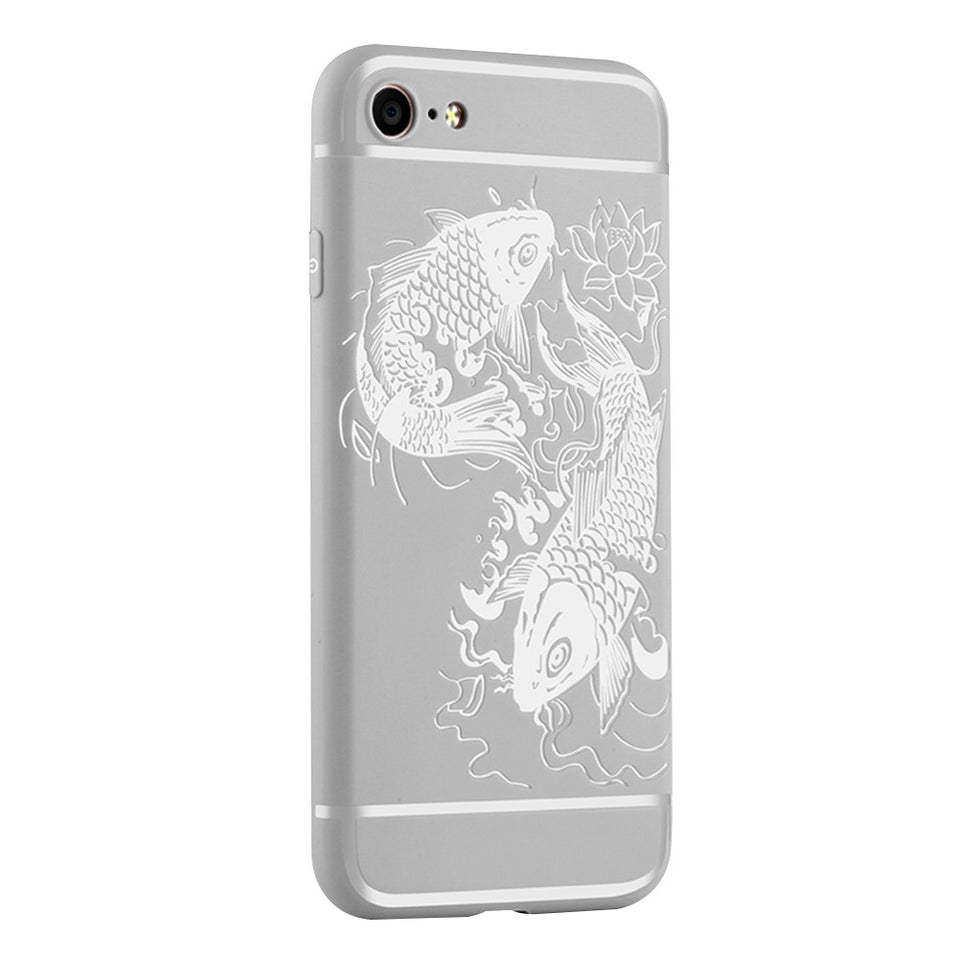 Fish Print Phone Case Slim Fit Soft Tpu Case Shockproof Anti-Scratch Phone Cover Case For Iphone - Grey / Iphone 7/8