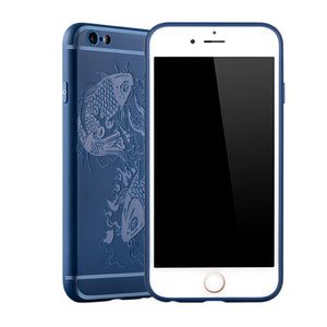 Fish Print Phone Case Slim Fit Soft Tpu Case Shockproof Anti-Scratch Phone Cover Case For Iphone - Blue / Iphone 6/6S