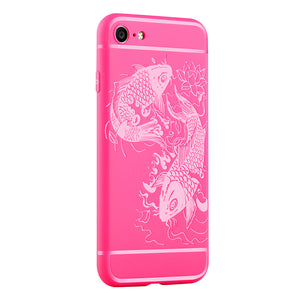 Fish Print Phone Case Slim Fit Soft Tpu Case Shockproof Anti-Scratch Phone Cover Case For Iphone - Pink / Iphone 7/8