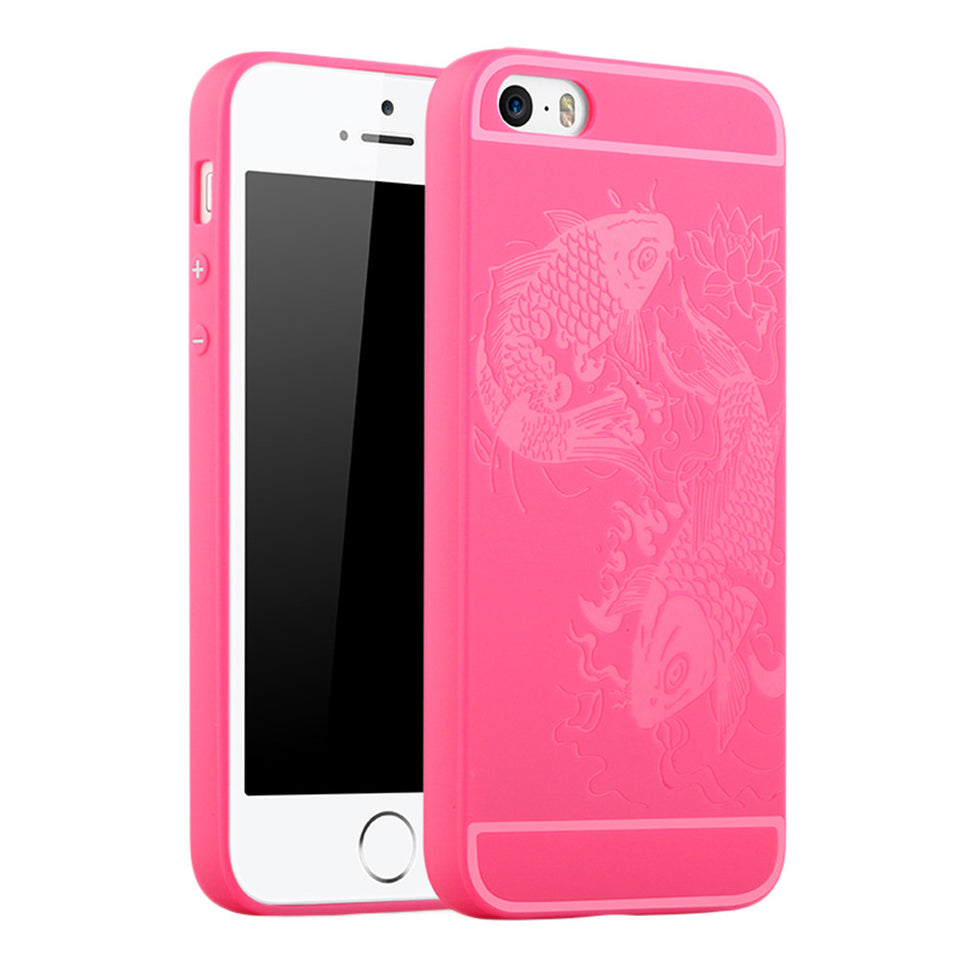 Fish Print Phone Case Slim Fit Soft Tpu Case Shockproof Anti-Scratch Phone Cover Case For Iphone - Pink / Iphone 5/5S