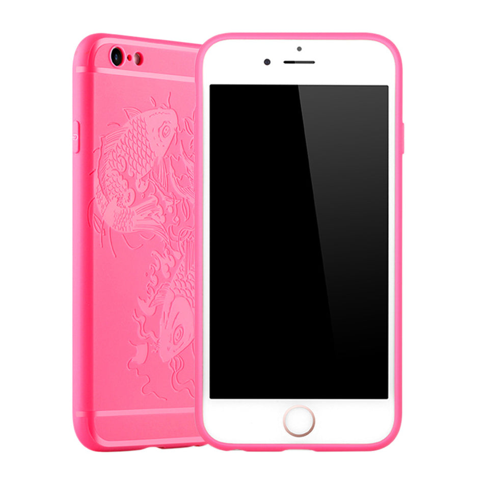 Fish Print Phone Case Slim Fit Soft Tpu Case Shockproof Anti-Scratch Phone Cover Case For Iphone - Pink / Iphone 6/6S