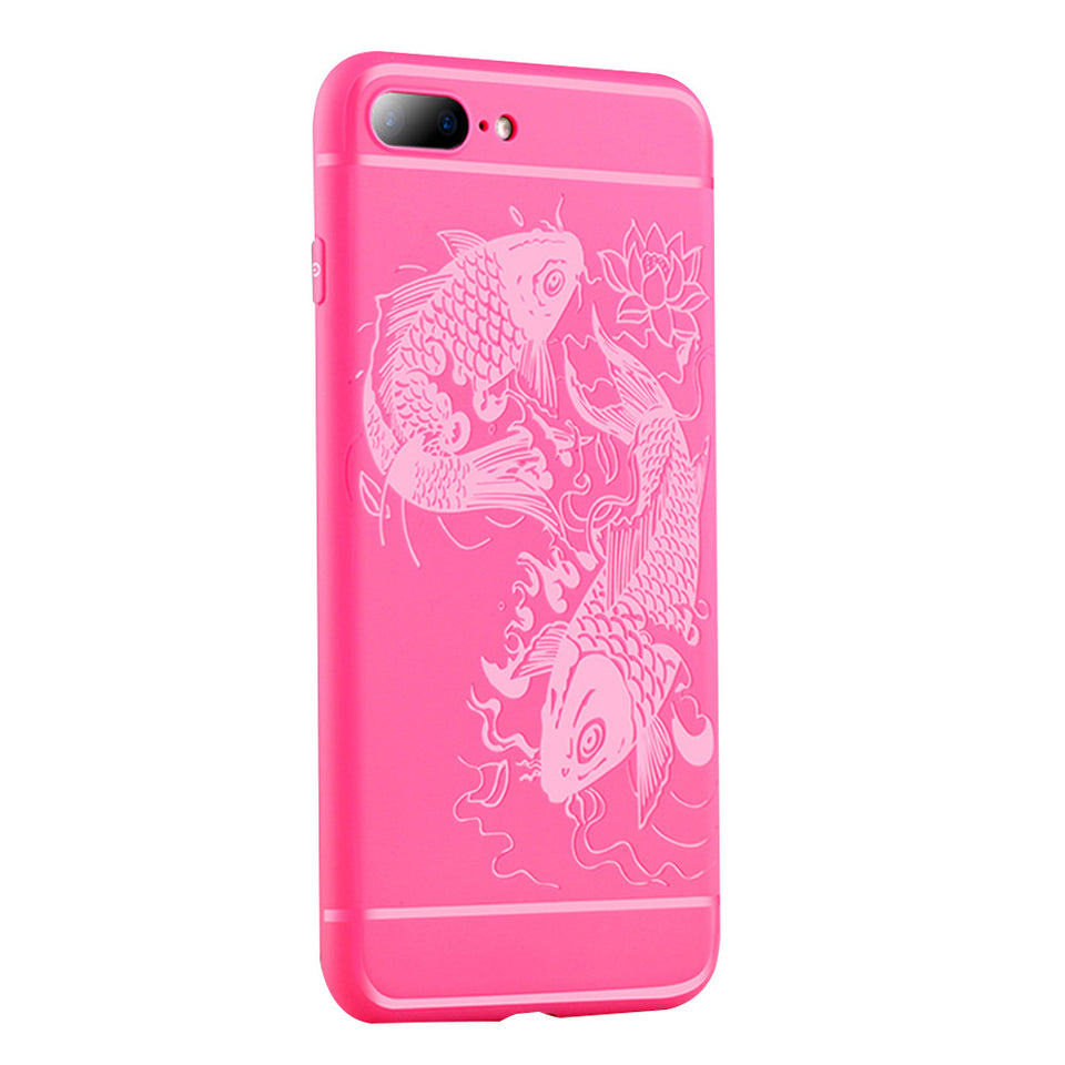 Fish Print Phone Case Slim Fit Soft Tpu Case Shockproof Anti-Scratch Phone Cover Case For Iphone - Pink / Iphone 7/8Plus