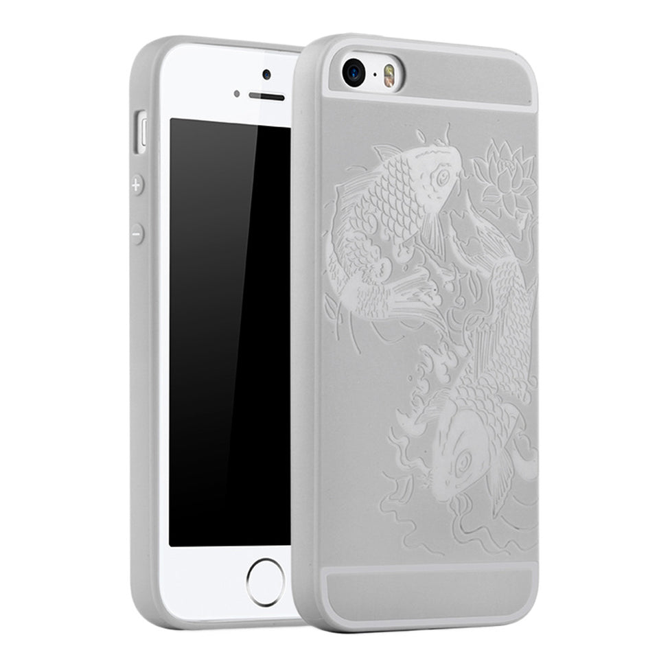 Fish Print Phone Case Slim Fit Soft Tpu Case Shockproof Anti-Scratch Phone Cover Case For Iphone - Grey / Iphone 5/5S