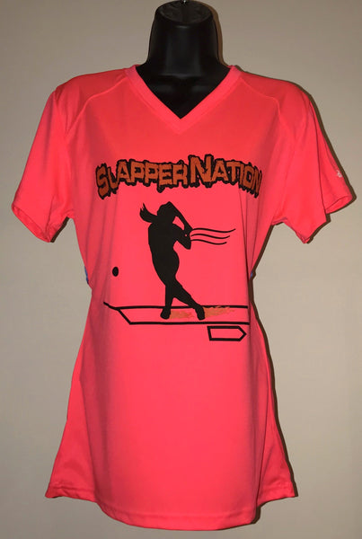 Women's V-Neck T-Shirt: Hot Coral