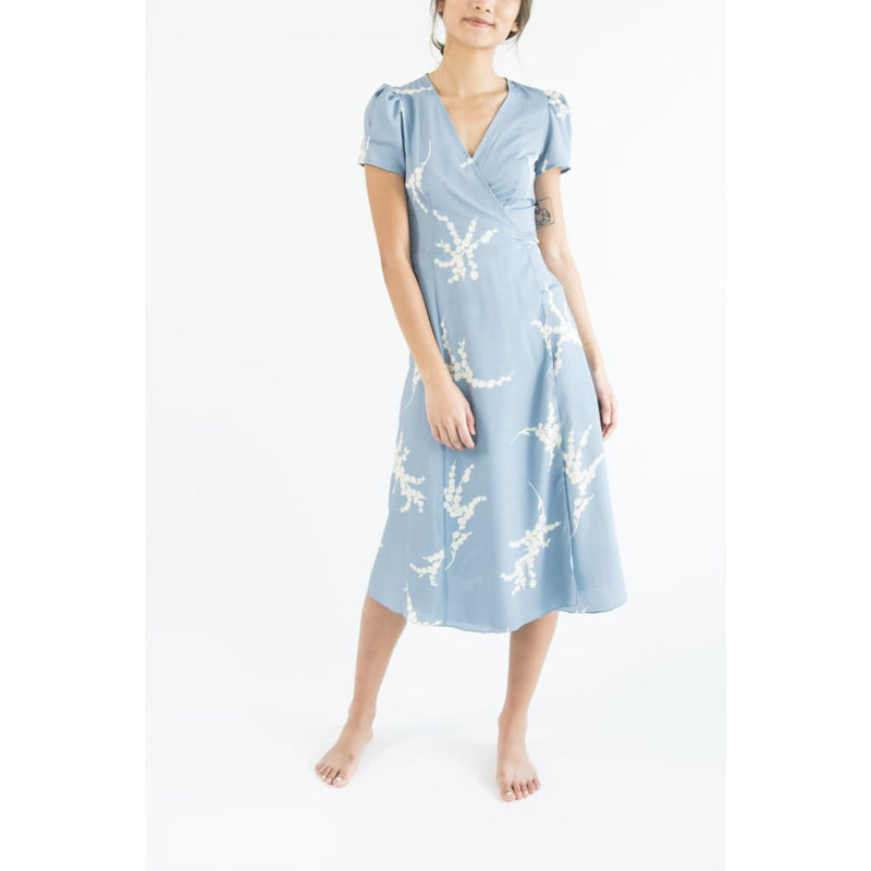 Blue Chiffon Wrap Dress kv208