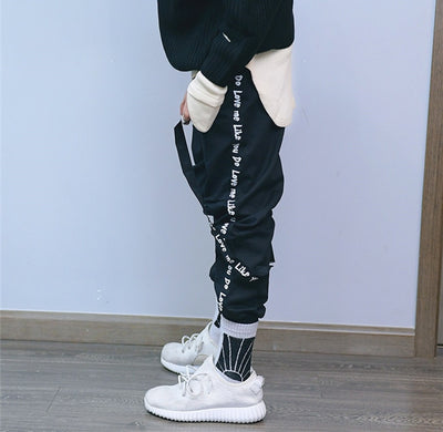 Kanji Ribbon Hip Hop Style Sweatpants