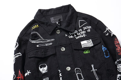 """Personality"" Black Denim Jacket"