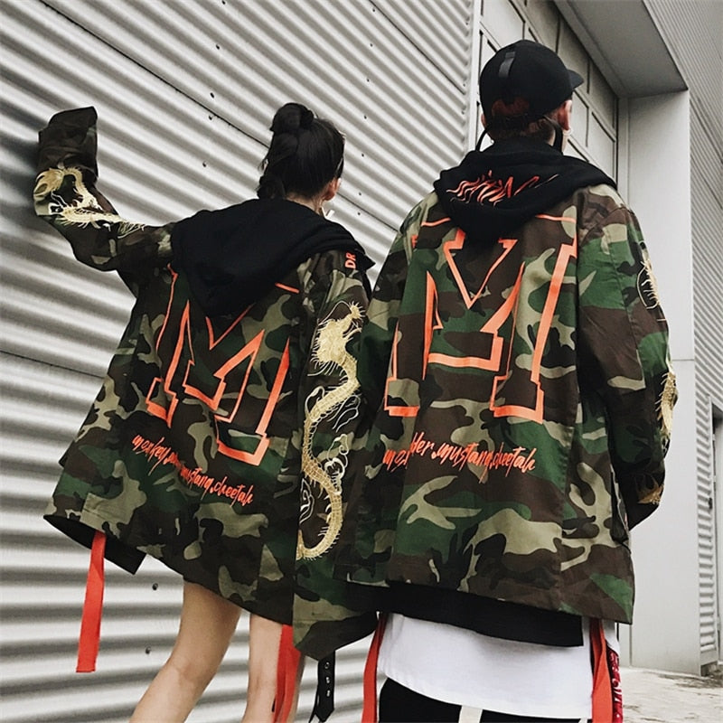 """D/R/A/G/O/N"" Camo Trench Coat - Womens"