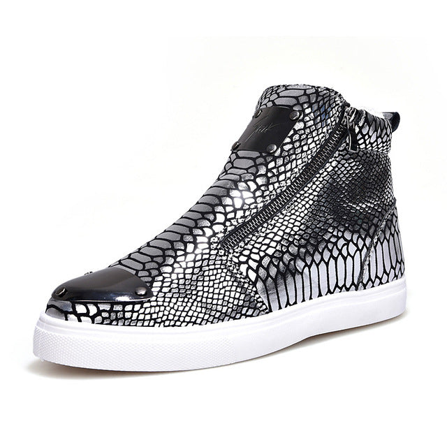 """Snaked"" High Top Zipper Sneakers"