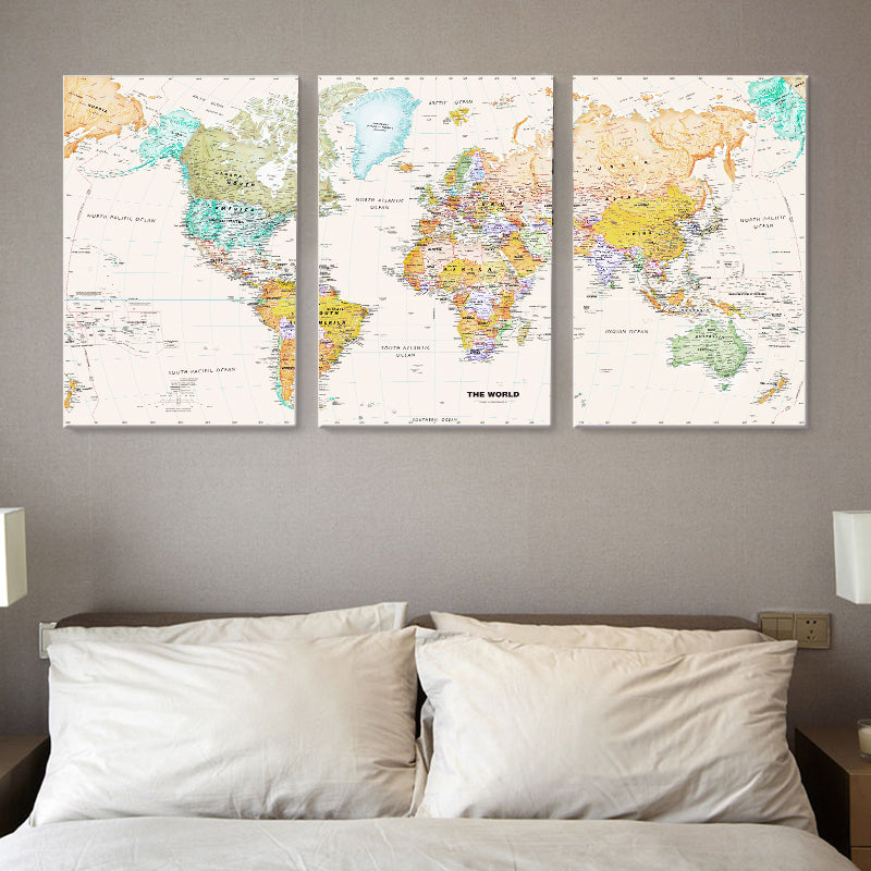 three panel world map 3 Panel World Map Canvas Wall Art Norsehus
