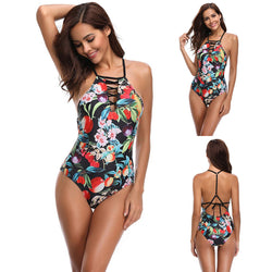 Floral Printed Straps Bandage High Waist Swimsuit