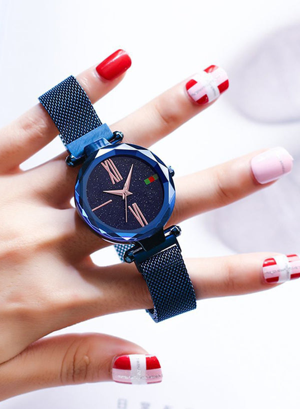 Tik Tok Web Celeb Stylish Trend Starry Sky Magnet Waterproof Watch