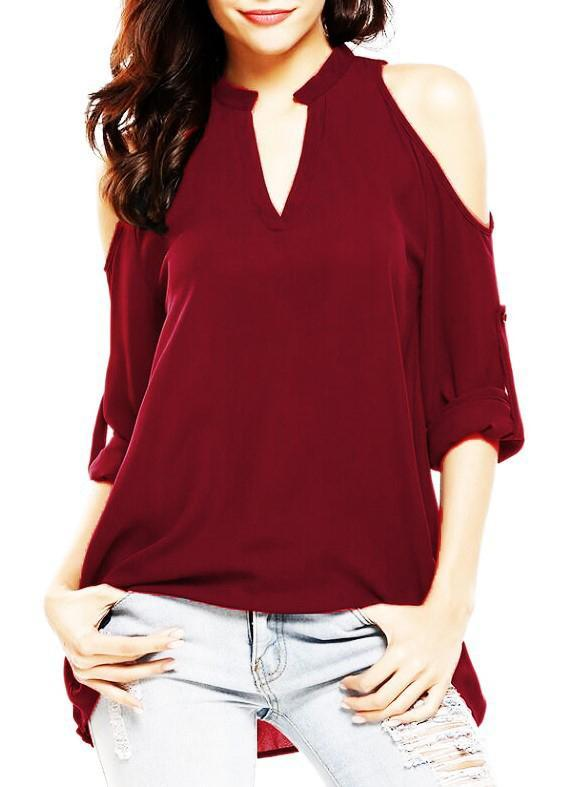 V-neck Shoulder Cutout Loose Chiffon Blouse