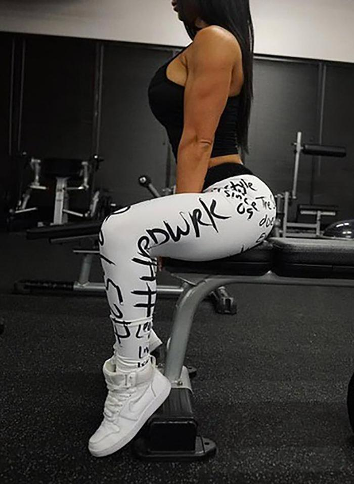 Women Letters Print Hip-lift Fitness Yoga Leggings