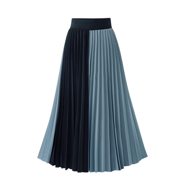 Chiffon A-Line High Waist Contrast-Color Pleated Accordion Long Skirt