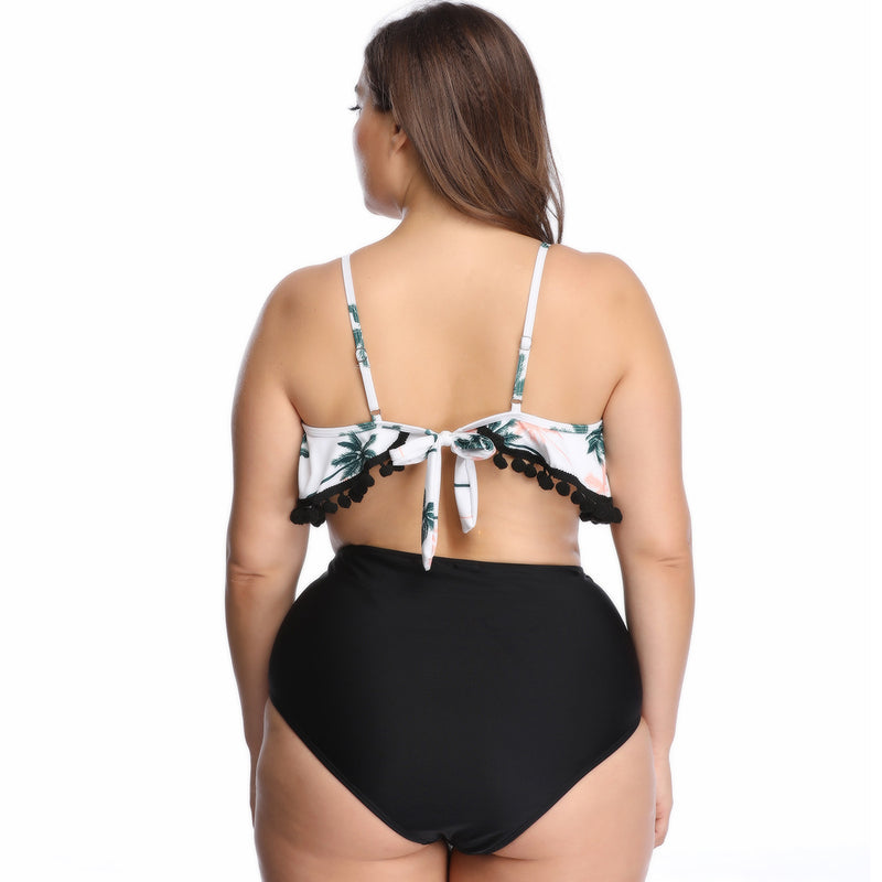 Ruffle Small Balls Swimsuit Two Piece Bikini Plus Size Tankini Bathing Suits