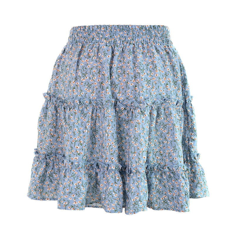 Ruffle Floral Print Mini Skirt with Bow