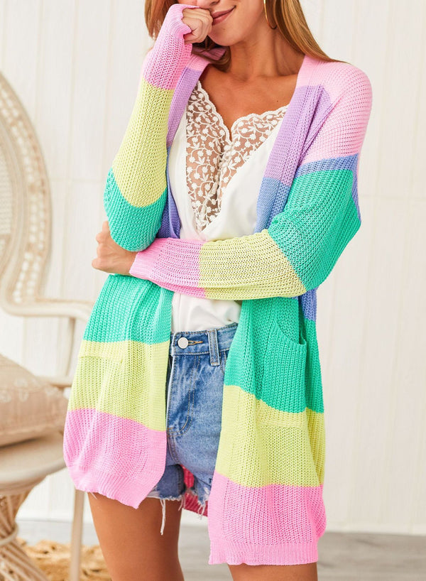 Women Colorful Rainbow Stitching Long Sleeve Cardigan