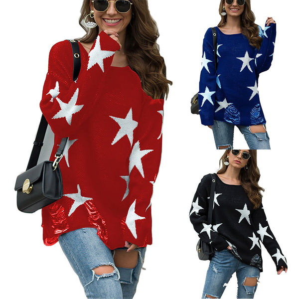 Ins Stylish Round Neck Stars Hole Knit Sweater