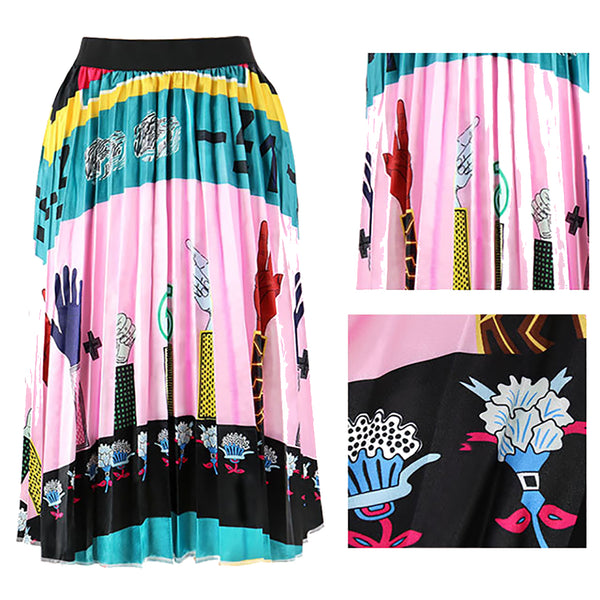 Ins Hot Graffiti Print Cartton Pleated A-Line Maxi Skirt