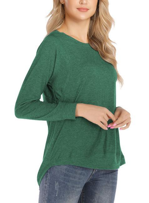 Women Round Neck Long Sleeve Swallowtail T-shirt
