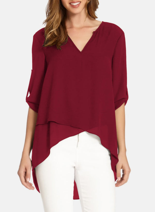 V-neck Irregular Loose Chiffon Top Blouse