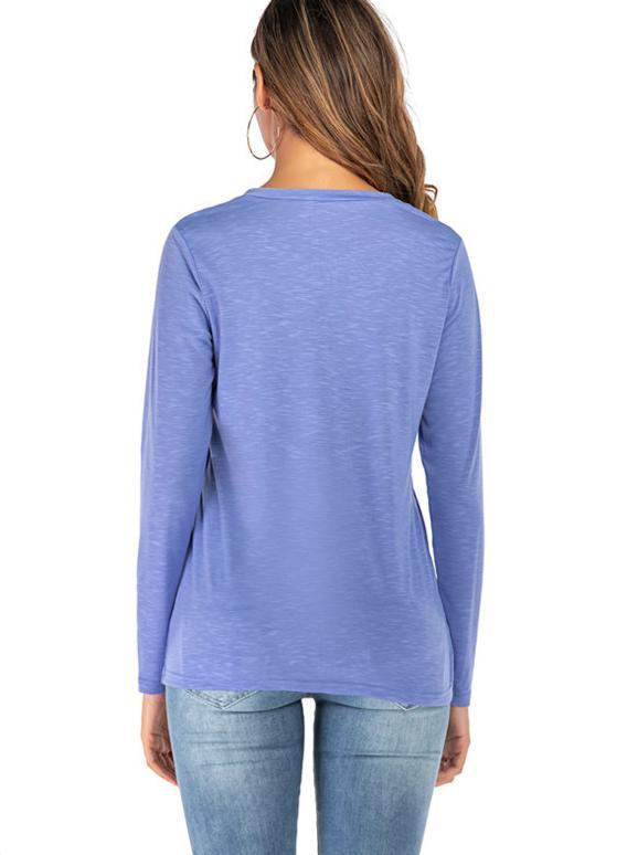Women V-neck Star Knit Long Sleeve Loose T-shirt