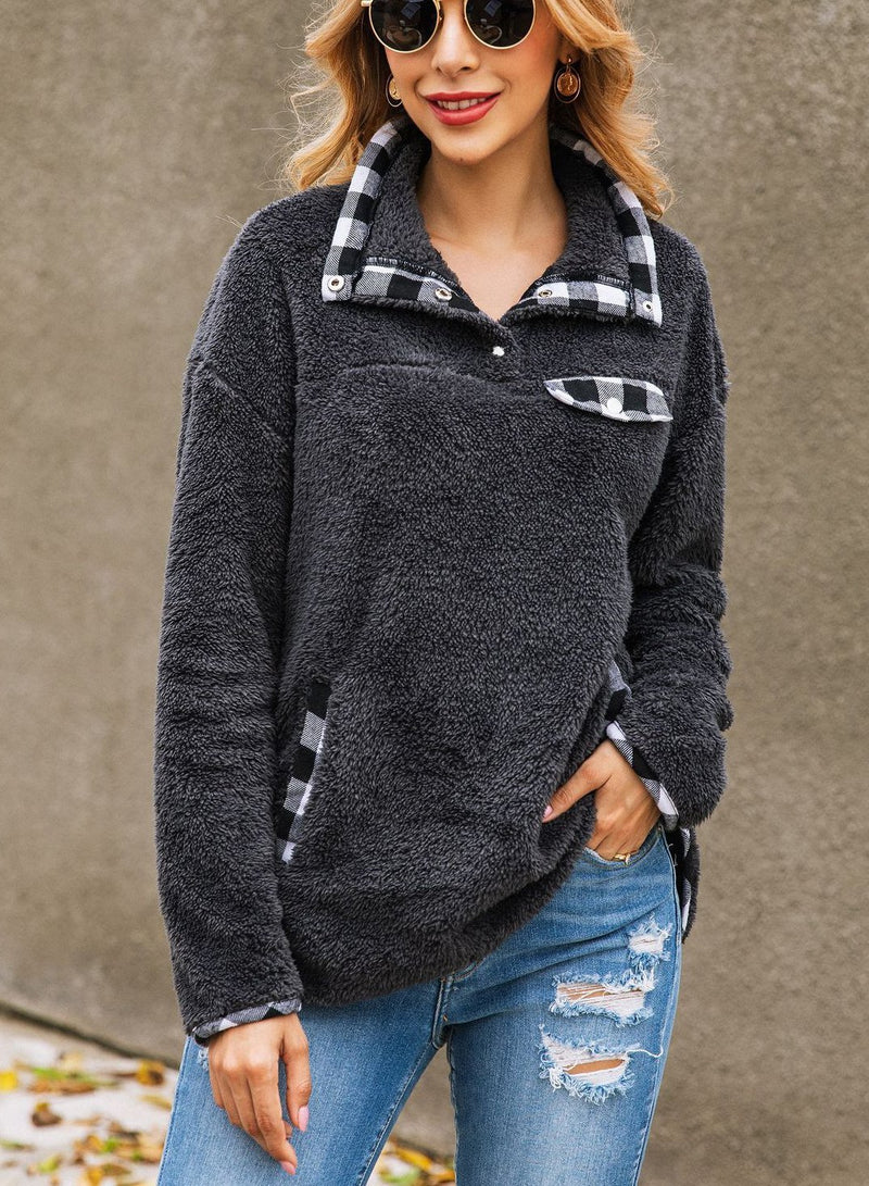 Women Fashion Plaid Pockets Long Sleeve Sweatshirt