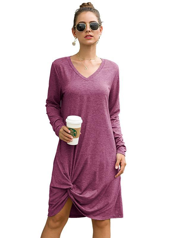Women Irregular Hem-knot Loose Day Dress