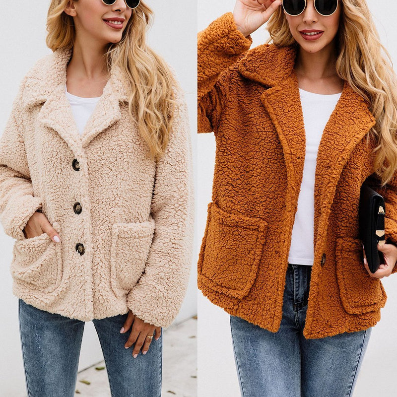 Women Lapel Pocket Button Woolen Coat