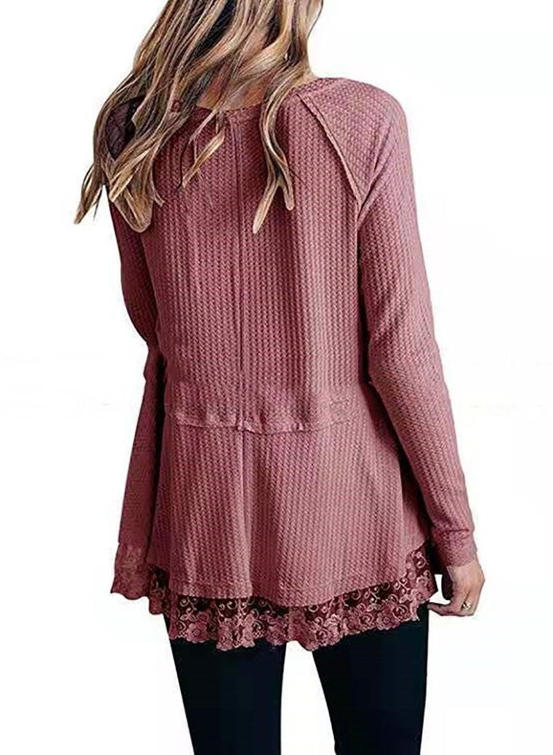 Women V-neck Lace Hem Long Sleeve Loose T-shirt