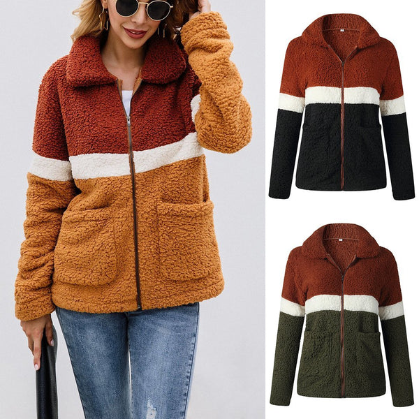 Women Contrast Color Pocket Zipper Lapel Coat