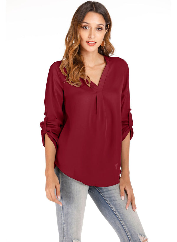 V-neck Loose Chiffon Rollable Sleeve Blouse