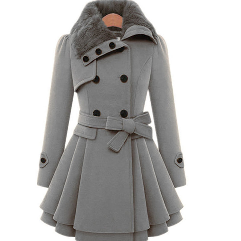 Ins Hot Winter Double-breasted Trench Woolen Coat with Belt