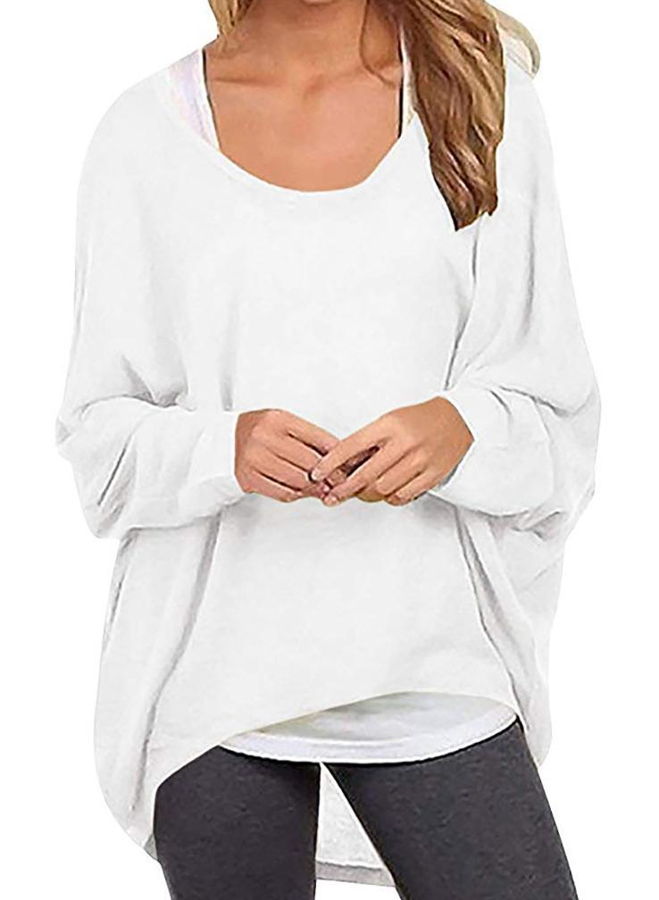 Women Round Neck Irregular Long Sleeve Cusual Sweatshirt