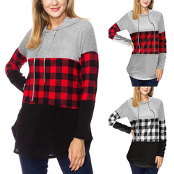 Women Plaid Hooded Long Sleeve Casual Sweatshirt