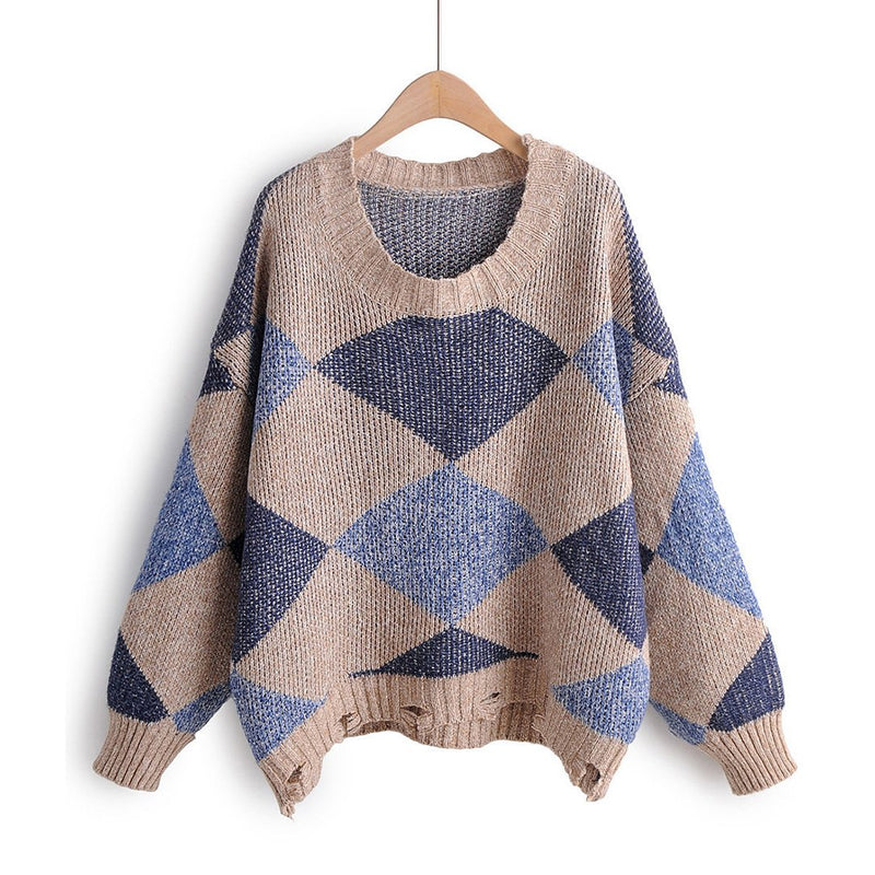 Women Round Neck Square Contrast Color Ripped Knit Sweater
