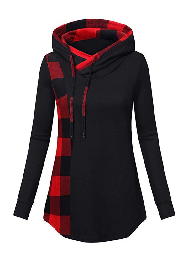 Women Plaid Long Sleeve Hooded Sweatshirt