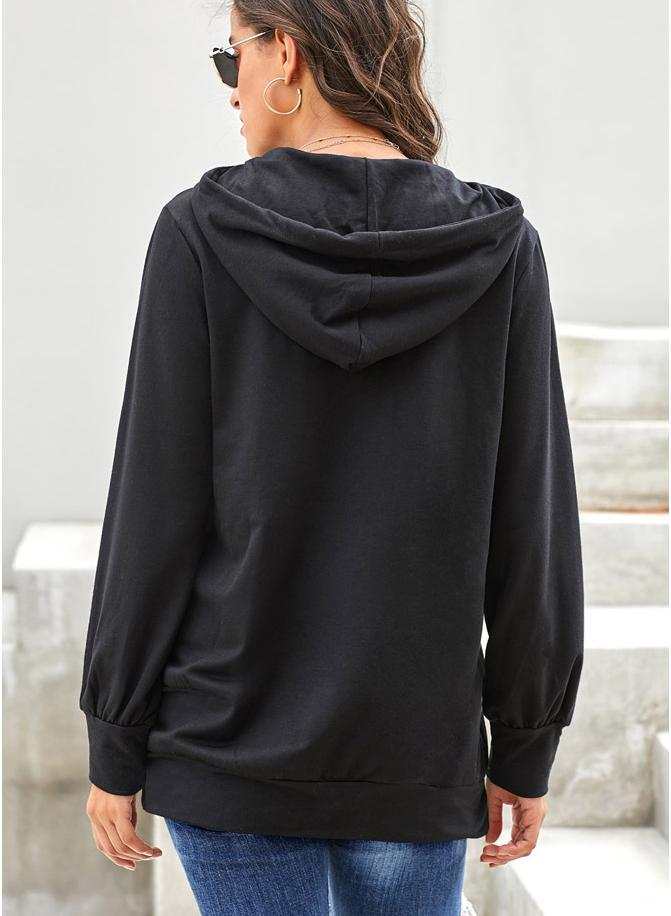 Women Solid Color Drawstring Long Sleeve Hooded Sweatshirt